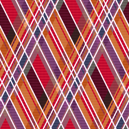 hues: Rhombic seamless vector pattern as a tartan plaid in warm hues
