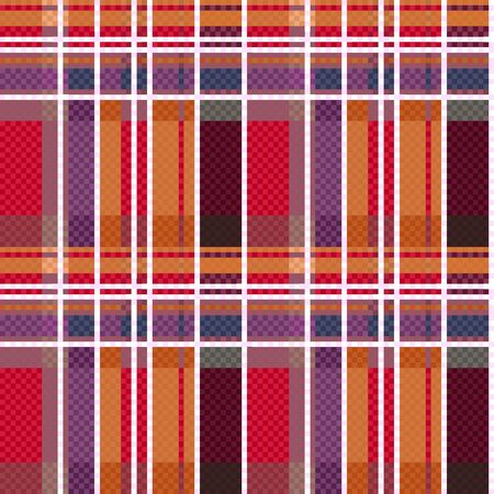 scot: Rectangular seamless vector pattern as a tartan plaid mainly in red and other warm hues