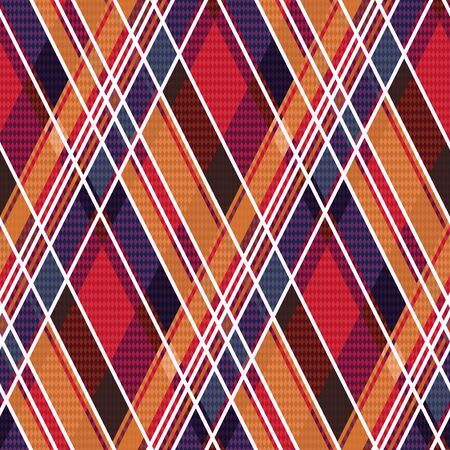 rhombic: Rhombic seamless vector pattern as a tartan plaid mainly in red and blue colors