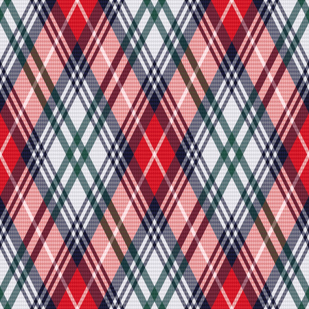 rhombic: Rhombic seamless vector pattern as a tartan plaid mainly in red and light grey colors