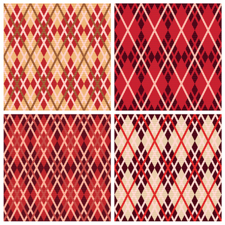 scot: Set of four rhombic seamless vector patterns in red hues collected in one file, patterns in same as a Celtic tartan plaid Illustration