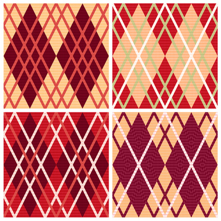 rhombic: Four rhombic seamless vector patterns in red hues collected in one file, patterns in same as a Celtic tartan plaid