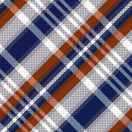scot: Diagonal seamless vector pattern as a tartan plaid mainly in blue, brown and light grey colors