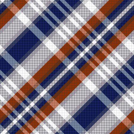 tartan plaid: Diagonal seamless vector pattern as a tartan plaid mainly in blue, brown and light grey colors