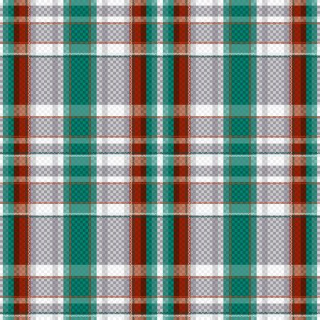 hues: Rectangular seamless vector pattern as a tartan plaid mainly in turquoise, light grey and brown hues