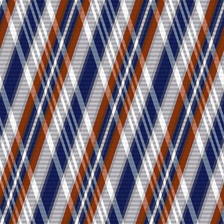 scot: Rhombic seamless vector pattern as a tartan plaid mainly in blue, grey and brown colors Illustration