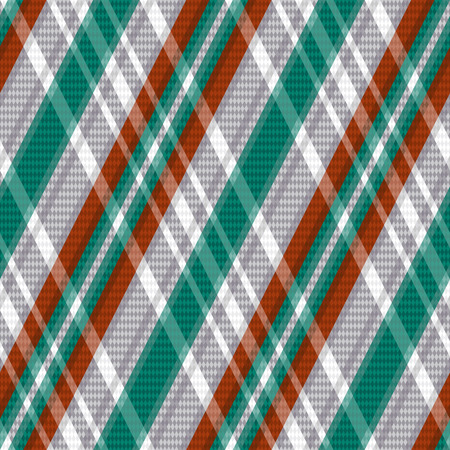 scot: Rhombic seamless vector pattern as a tartan plaid mainly in turquoise, light grey and brown colors