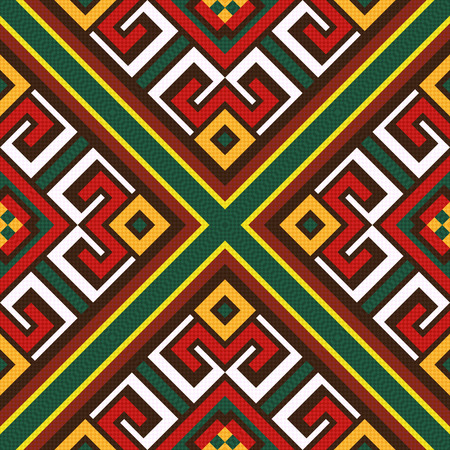 kilim: Seamless colourful vector pattern with oriental elements mainly in red, white and green hues