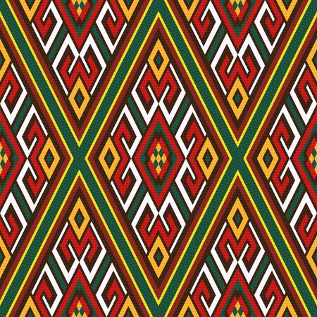 kilim: Seamless colourful rhombus ornamental vector pattern with oriental elements mainly in red, white and green hues