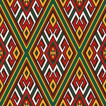Naadloze kleurrijke ruit sier vector patroon met oosterse elementen hoofdzakelijk in rood, wit en groene tinten