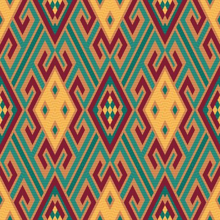 kilim: Seamless colourful rhombus ornamental vector pattern with oriental elements mainly in soft red, orange and turquoise hues Illustration