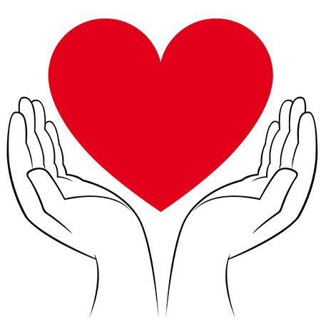 volunteer: Human hands holding a heart, medicine and volunteering conceptual vector illustration