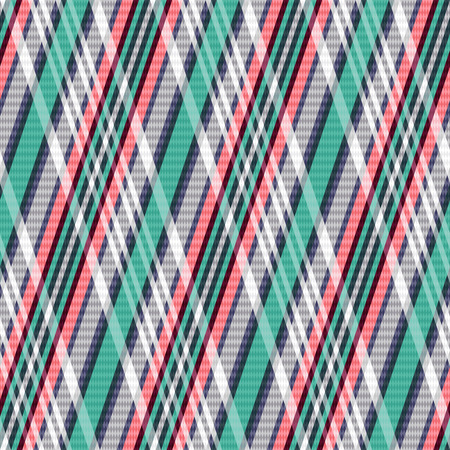rhombic: Rhombic seamless vector pattern as a tartan plaid mainly in turquoise, light grey and red colors