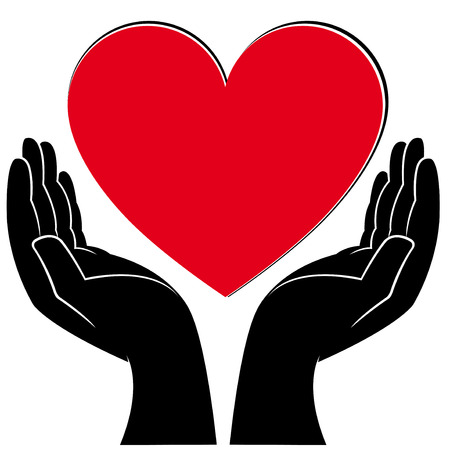 Human hands holding a heart, medical and volunteering conceptual vector illustration