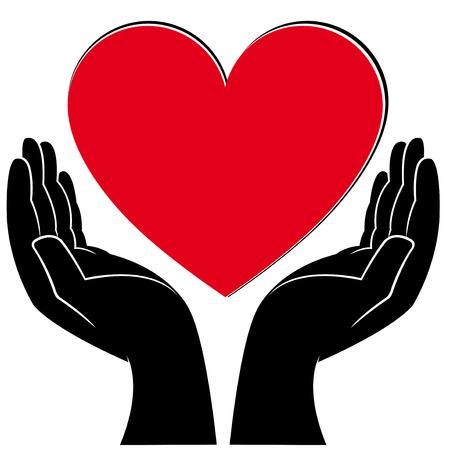 Manos humanas sosteniendo un corazón, médicos y voluntarios ilustración vectorial conceptual Foto de archivo - 39550579