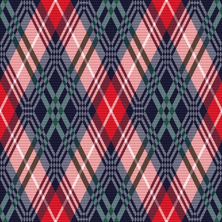 red pink: Rhombus seamless vector pattern as a tartan plaid mainly in red, pink, green and dark blue colors