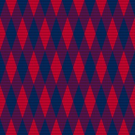 violet red: Rhombus seamless vector pattern as a tartan plaid mainly in red and dark hues of blue and violet