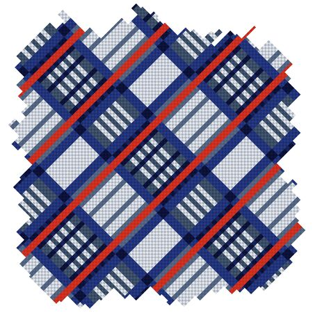 scot: Part of colourful ornamental vector pattern as tartan plaid fabric in blue and red hues