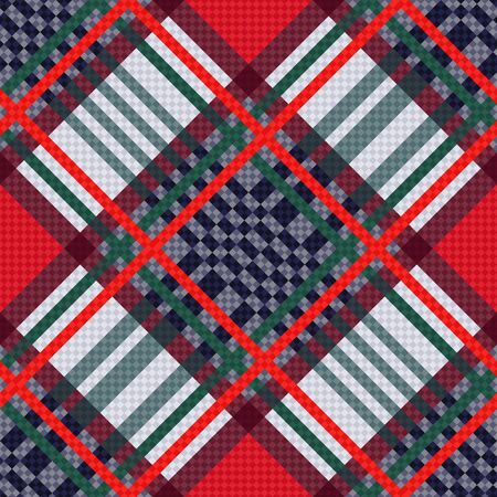 hues: Diagonal seamless vector pattern as a tartan plaid mainly in red, blue and light grey hues