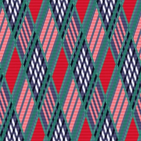 scot: Rhombus seamless vector pattern as a tartan plaid mainly in red and blue colors Illustration