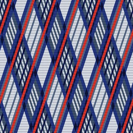 scot: Rhombus seamless vector pattern as a tartan plaid fabric mainly in blue, red and light grey hues