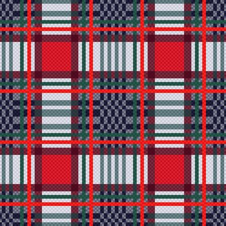 rouge et bleu: Seamless rectangular vector pattern as a tartan plaid mainly in red, blue and light grey colors