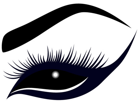 hues: Abstract female eye with long lashes, illustration in dark blue and black hues