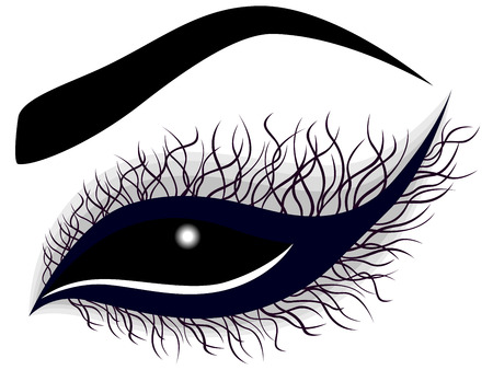 long eyelashes: Abstract female eye with long curling violet eyelashes, illustration in dark blue and black hues Illustration