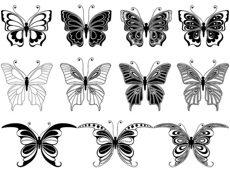 eleven: Set of eleven ornamental stencils of beautiful butterflies isolated on a white background, hand drawing vector illustration Illustration