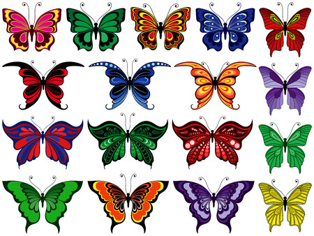 seventeen: Set of seventeen colorful ornamental butterflies isolated on a white background, hand drawing vector illustration Illustration