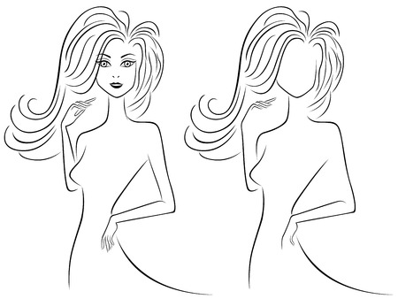 the womanly: Abstract slender female outlines in more and less detailed variants, hand drawing vector illustration