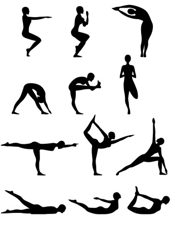 female pose: Set of twelve isolated abstract female vector black silhouettes of yoga poses