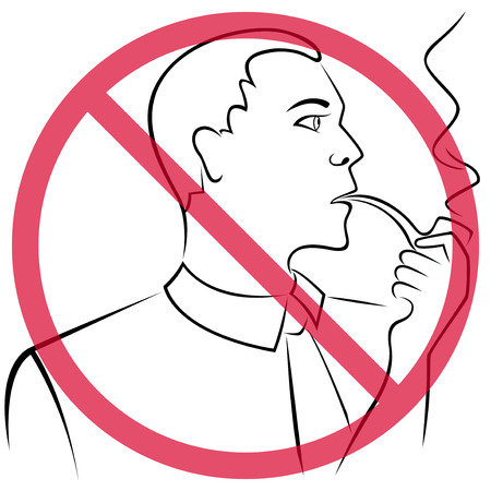 crossed cigarette: Man who smokes a pipe crossed out a red round prohibition sign, hand drawing vector outline Illustration