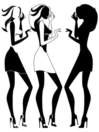is slender: Beautiful abstract slender female vector outlines in three embodiments Illustration
