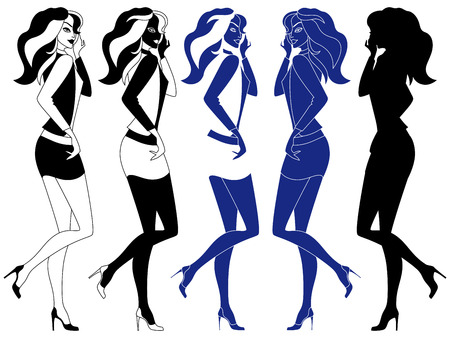 variants: Beautiful young girl with luxurious hair in a short skirt, vector artwork in five variants of embodiment Illustration