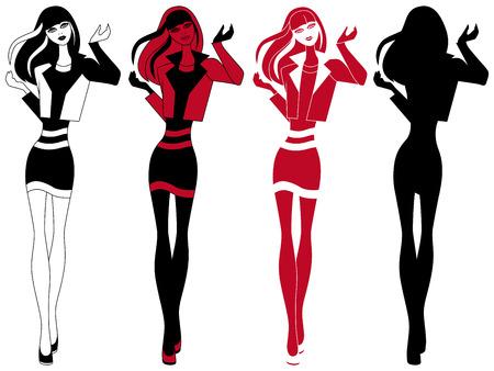 short skirt: Abstract slender girl in short skirt, vector artwork in four various embodiments