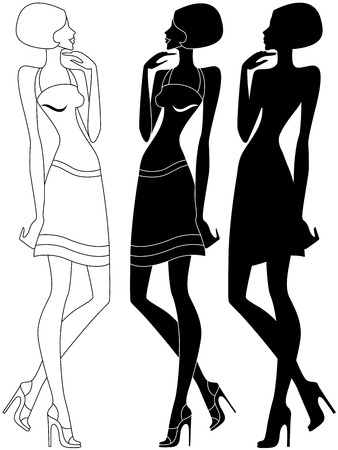 is slender: Abstract slender model in shoes with high heels, vector artwork in three various embodiments Illustration