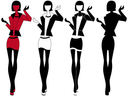 short skirt: Abstract slender model in short skirt, vector artwork in four various embodiments