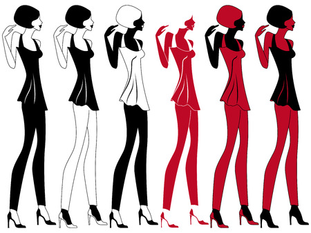 modish: Abstract graceful model in shoes with high heels, vector artwork in six different embodiments Illustration
