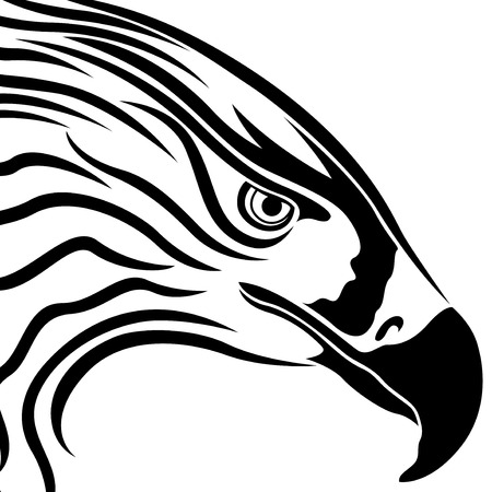 massive: Head of eagle with massive beak, side view vector artwork