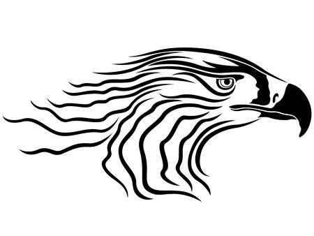 menacing: Head of menacing eagle, side view vector artwork