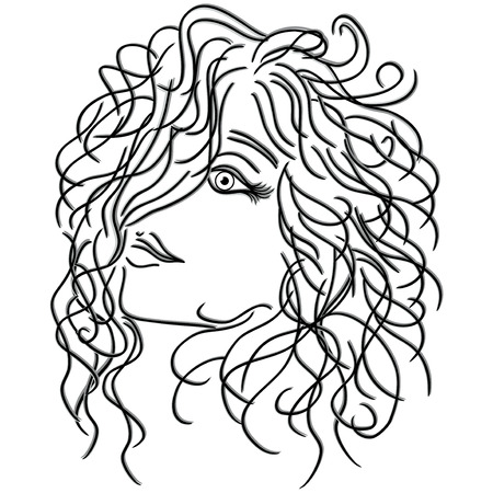 periwig: Girl with flowing curly hair, sketching vector illustration