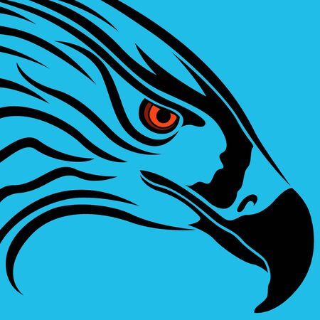 Head of eagle with massive beak and orange eye over blue background, vector artwork