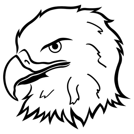 beak: Head of eagle with massive beak, cartoon vector artwork Illustration