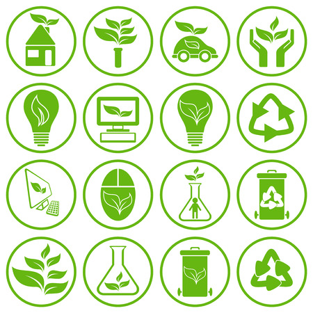 sixteen: Set of sixteen green ecology icons, conceptual vector illustration