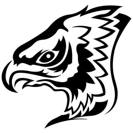 menacing: Head of menacing eagle, side view cartoon vector outline Illustration