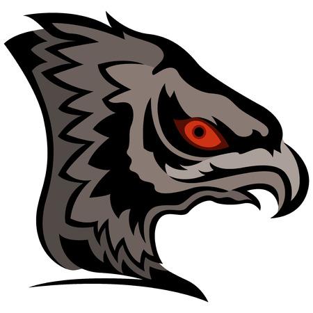 menacing: Head of menacing eagle with orange eye, cartoon vector illustration