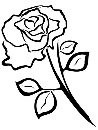 flor aislada: Negro vector silueta de flor rosa aislado en un fondo blanco