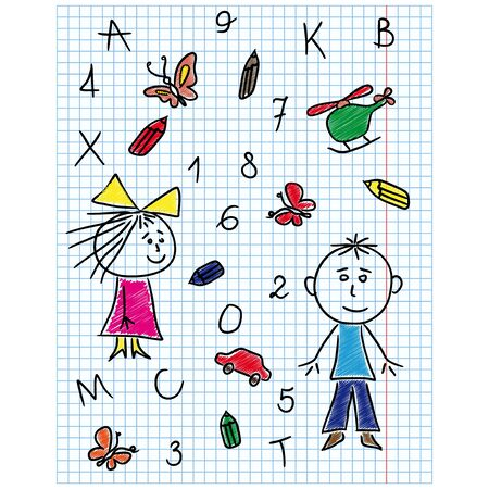 school kit: Colouring school kit hand drawing in notebook sheet isolated on a white background