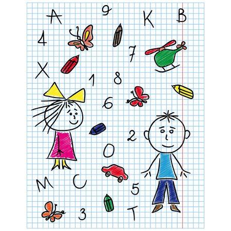 Dibujo A Mano Kit Escuela En La Hoja Del Cuaderno, Ilustración ...